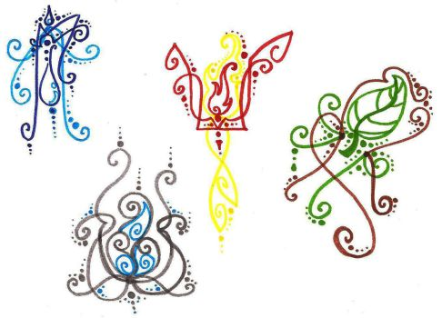 Elements tattoo doodle by silverwolf-song