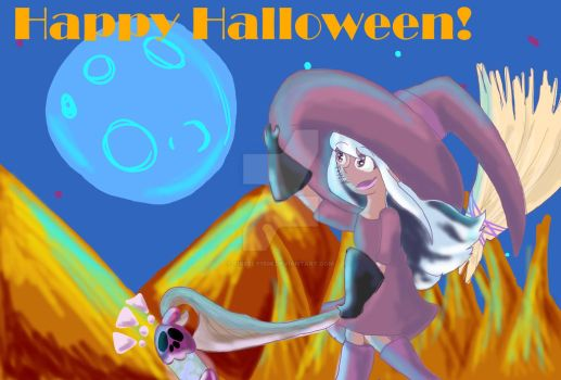 Halloween Postcard-Witch by Firefly1508