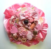 Pink Rose Brooch by queenofexecutions