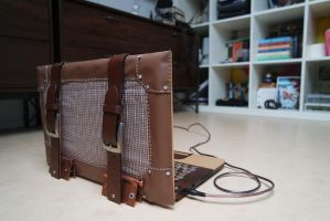 (Steampunk / Vintage) Wooden laptop by Exifia