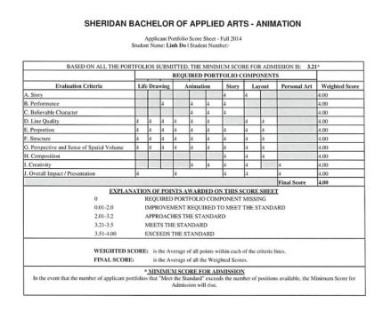 Sheridan Animation Portfolio - Score Sheet 4.0/4.0 by taleism