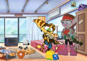 Ratchet and Talwyn cheering up their son Racket by Ratchetfan2006