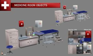 Low poly medical room objects by Imogia