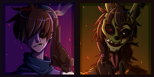 FNAF3 Sharing Icons - Mike w/ Springtrap -DL- by AnDroidV