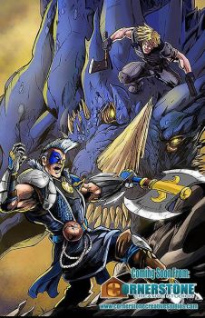 Kur of the Nexus vs. Immortal Lion and Blue Dragon by Cadre