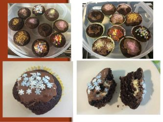 Chocolate cupcakes with vanilla filling by Sia-the-Mawile