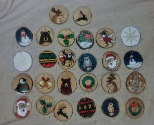 wood slice Christmas ornaments 2017 by x121887x