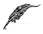 feather quill tribal tattoo by Skrayle