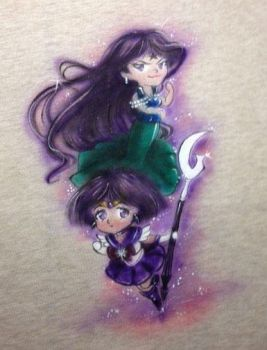 Chibi Sailor Saturn and Mistress Nine Shirt by Artsy-BookNerd