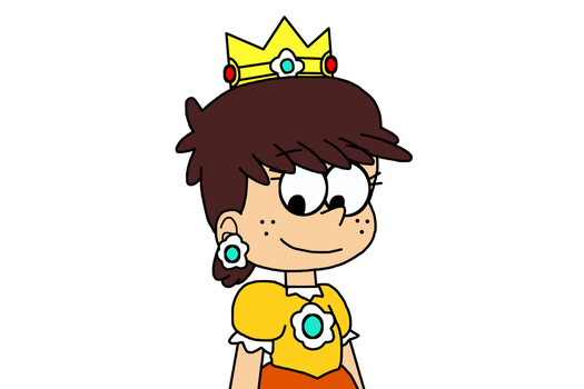 Luna Loud dressed as Princess Daisy for Halloween by MarcosPower1996