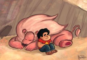Steven and Lion by pandatails