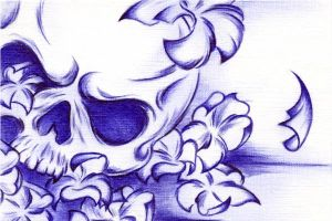 Skull and Blossoms by Sultzaberger