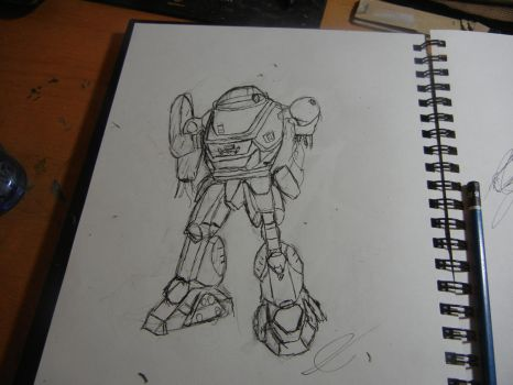First time drawing mechs. by jojafnot