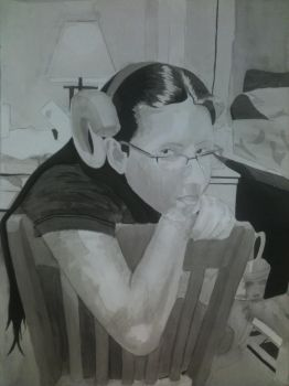 Art Final-Self Portrait Ink and Brush by CuddleFish124