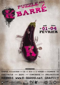 Affiche K barre Aubergine by leamings