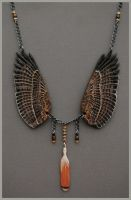 Red Tailed Hawk Wings - Leather Pendant by windfalcon