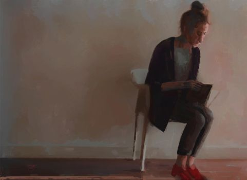 Seated woman with red shoes and a book by Les-Allsopp