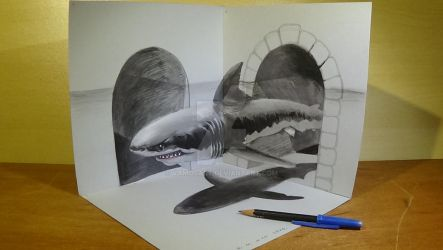 Great White Shark in 3D, Anamorphic Art by VamosArt