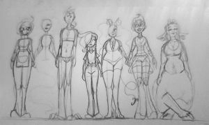 Character line up doodle by Greeny-Star
