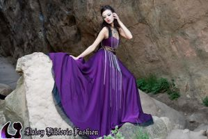 Purple Chiffon Princess Gown with Chains by DaisyViktoria