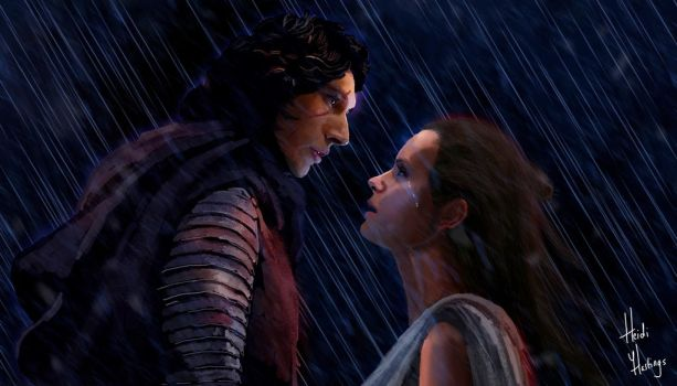 Rey and Kylo Ren Drawing (Close Up) by heidihastings