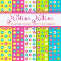Free Nurture Nature Floral Papers by TeacherYanie