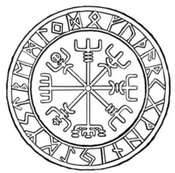 Nordic Compass Lineart by ClanMclain