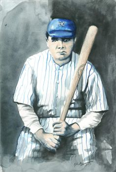 Babe Ruth Watercolor 1 by Frabulator