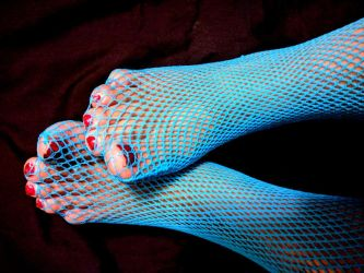 Neglected Chubby Toes in Blue Fishnet 6 by X-Stella