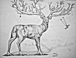 creative stag drawing series drawing 4 by mohitkumarrao