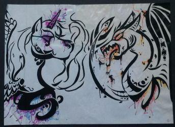 Unicorn and dragon tribal art by Nellyandsmilerlover