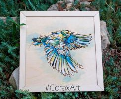Wood Watercolor Wall Art 'Bird in flight' by CoraxArt
