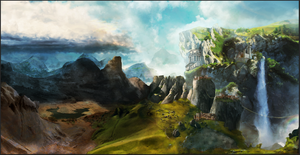 Matte Painting View over oasis by zhiglov
