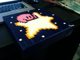 Kirby Flying Star pixel painting 2 by RubiksPhoenix