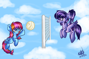 Playing skyball AT by Momoe-mi