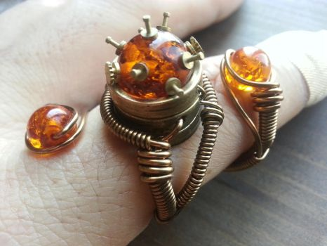 New Adjustable Steampunk Ring design by CatherinetteRings