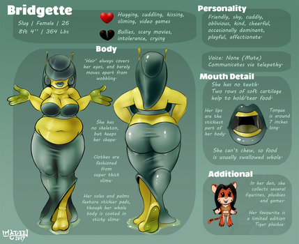 Bridgette the Slug Girl - Reference Sheet by ImaDeeJ
