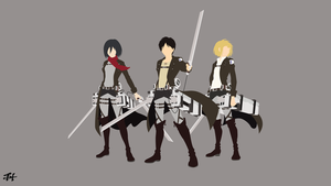 Trio Survey Corps (AoT) Minimalist Wallpaper by slezzy7