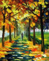 The gold of fall by Leonid Afremov by Leonidafremov