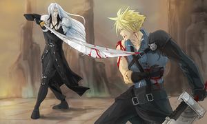 Sephiroth Vs. Cloud by ErisLeea
