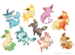 Eevee family by Rozenng
