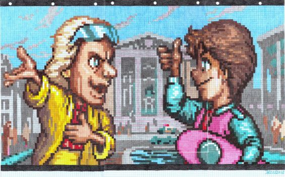 Doc Brown and Marty McFly in 2015 SFC Graph Screen by dragontamer272