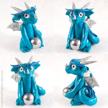 Mischievous Teal Blue Dragon by HowManyDragons