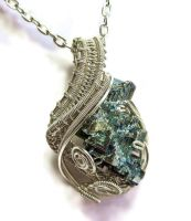 Bismuth Wire-Wrapped Pendant in Non-Tarnish Silver by HeatherJordanJewelry