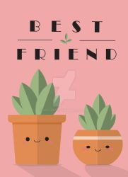 Kawaii Best Friend Potted Sprouts - Greeting Card by MosArts