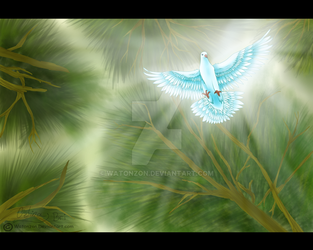 Dove flying from heaven by Watonzon