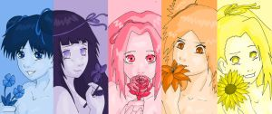 Naruto girls - flowers by PetiteLilen