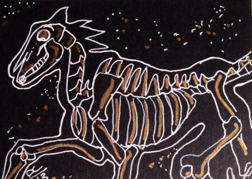 Horse Skeleton with gold ACEO by kawaiidchan