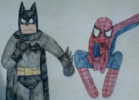 Spider-Man and Batman by MollyKetty