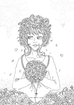 Vampire Bride | Colouring Page/lineart by keh-arts